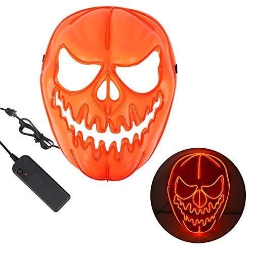 Thiroom maschere halloween led,3 modalità flash illuminano per grande festival cosplay costume supplies festa christmas party si illuminano al buio (testa di zucca)
