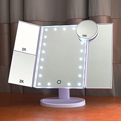 Dolovemk® Make-up Lighted Mirror 2X/3X/10X Magnifying 22 LED Dimmable Touch Sensor Illuminated Beauty Bathroom Mirror Desktop Mirror Tri-folded withTilt Stand