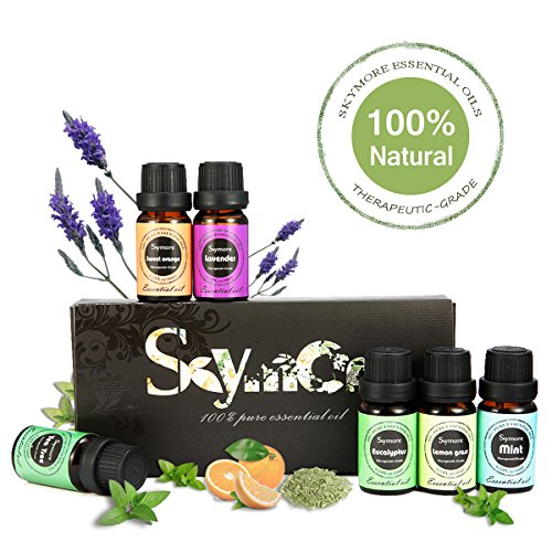 Skymore Oli Essenziali Top 6, Di Altissima Qualità, Aromaterapia Umidificatore Oli Kit, Puri Al 100% ---Menta Piperita, Tea Tree,Citronella, Lavanda, Eucalipto,Arancio, Regalo Perfetto