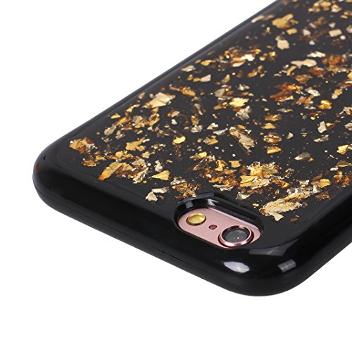 Noir Coque pour iPhone 6 Plus, iPhone 6S Plus Étui en Paillettes à l'arrière, Moon mood® Ultra Mince Glitter Bling Housse de Protection Étui pour Apple iPhone 6S Plus Soft Case Back Cover Gel Silicone Or