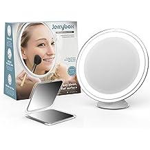 Jerrybox Espejo Plegable con Ventosa, Redondo | con Luz LED Ajustable y Aumento de 7x | Espejo de Baño Pequeño para Maquillaje, Cosmético y Afeitar, con Espejo de Bolsillo como Regalo