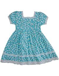 Powell Craft Filles Marguerite Robe.100% Coton.bleu