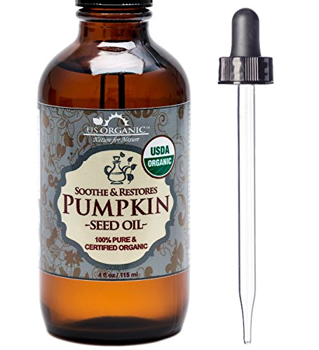 US Organic Pumpkin Seed Oil Organic & Natural Cold Pressed Virgin Unrefined In Amber Glass Bottle W/ Glass Eyedropper For Easy Application 4 Oz (115 Ml)