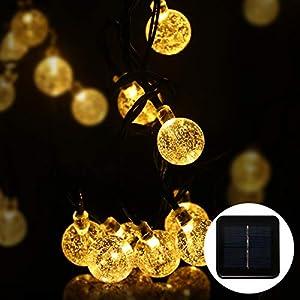 Fulighture Solar Garten Lichterkette,Solar Lichterkette Aussen,9.8 Meter Kugeln Lichterketten mit 50er Warmweiß, 8 Modi IP44 Wasserdicht Außerlichterkette für Garten,Bäume,Weihnachten,Partys Deko