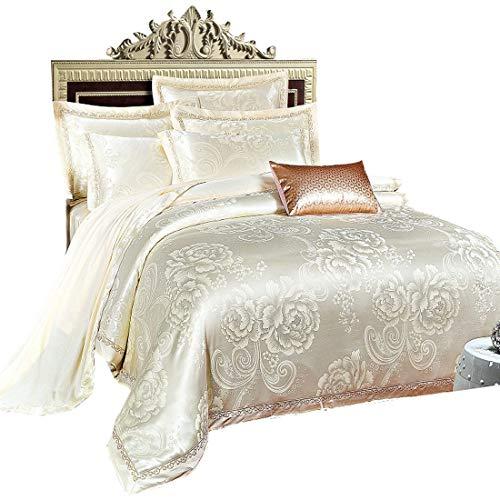 Cnspin raso di lusso biancheria da letto cotone ricamo set da letto piumino matrimoniale set 1 copripiumino 1 biancheria da letto 2 federe 4 pezzi, d, 220cmx240cm