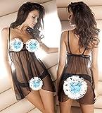 Sexy dessous Exponierte Brust Stahlring pyjama - versuchung unterwäsche,schwarz,l