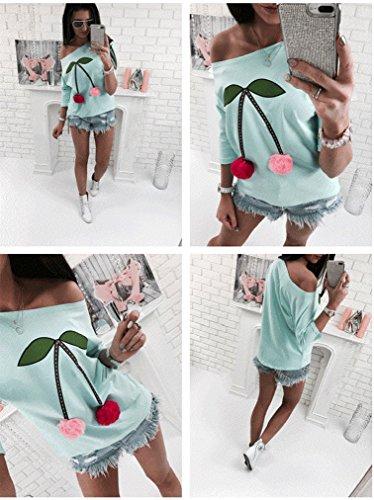 Damen Bluse langarm shirt mit Schulterfreies Pullover Sweatshirt Oberteil Tops Hemd Grün