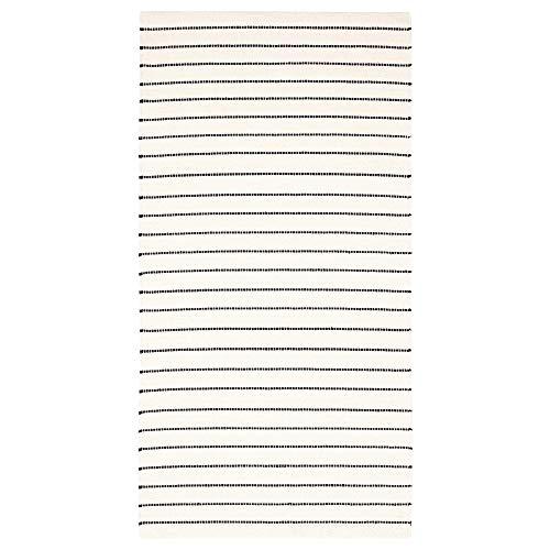 MBI Teppich, Flachgewebe, gestreift, Weiß/Schwarz, Größe (zusammengebaut): 150 cm lang, 80 cm breit, 1,20 m²