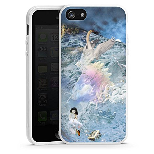 Apple iPhone 6 Housse Étui Silicone Coque Protection Cygne Collage Art Housse en silicone blanc