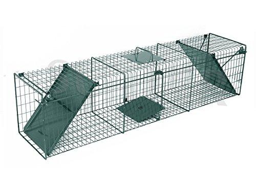Preisvergleich Produktbild Drahtkastenfalle und Lebendfalle 140x32x35cm mit zwei Eingängen / Tierfalle Marderfalle Fuchsfalle Drahtfalle