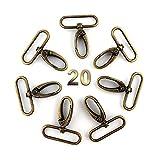 RUBY - 20pcs Drehbare Karabinerhaken Keychain Haken Drehbarer runder Wirbel für Hundehalsband (Innerhalb 3,9 cm, Bronze)