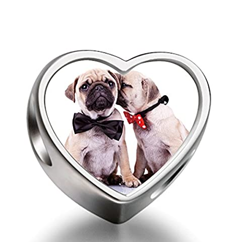 Rarelove Two Pug Dogs with Red Black Bowknot Animal Heart Photo European charm bead