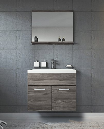 Badezimmer Badmöbel Montreal 02 60cm Waschbecken Bodega - Unterschrank Waschtisch Spiegel Möbel