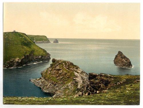 vittoriano vista da guardia costiera station, Boscastle, Cornwall, England, Large A3misura 41by 28cm tela Testurizzati sottile carta fotografica stampa fotografica