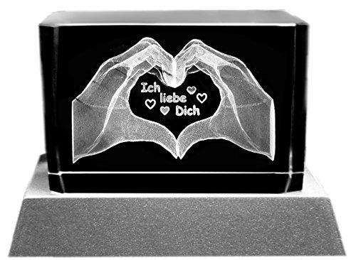Kaltner Präsente Stimmungslicht - Ein ganz besonderes Geschenk: LED Kerze / Kristall Glasblock / 3D-Laser-Gravur Motiv Hände / Ich liebe Dich (Kristall Der Liebe)