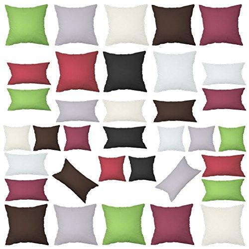 Texmania Baumwolle Kissenbezüge in 15 modernen Farben und 12 Größen mit Reißverschluss Anthrazit...