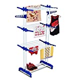 #7: Clothes Drying Stand for Balcony Cloth Foldable Stainless Steel Hanging Dryer Rack Drier Hangar with Wheel