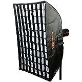 PhotoSEL SBSR6X9BE Boîte à Lumière Rectangulaire avec Grille Nid d'Abeille pour Flash Studio Photo Vidéo|Monture de Type de S|Bowens 60 x 90cm