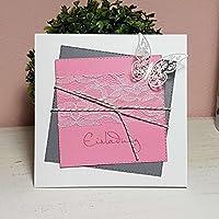 10 Stück Einladungskarte Hochzeit SQUARE grau-rosa Schmetterling