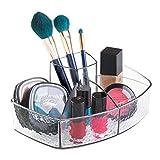 iDesign Rain Kosmetik Organizer mit 5 Ablagefächern | Sortierbox auch als Wattepadspender und für Make-Up geeignet | Platzsparende Bad Aufbewahrung | Kunststoff durchsichtig