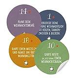 Adventskalenderzahlen im Farb Mix mit Aufgaben für Erwachsene | 24 Weihnachtsstimmung Aufkleber mit weihnachtlichen Aufgaben als Adventskalender | runde Sticker MATT | 40 mm, Blau, Lila, Gelb, Grün