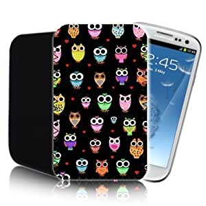 CUTE OWLS Pattern [BLACK] SAMSUNG GALAXY S3 i9300 (L) Shock Resistant Neoprene Mobile Phone Case, Cover, Pouch