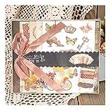 ZHAOXIANGXIANG DIY Mini Fotoalbum, Kit Vintage Scrapbook Album Set Für Kid Geburtstag Hochzeit Scrapbooking Geschenk, Gelb