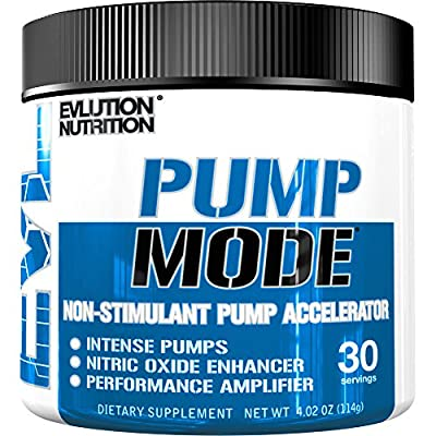 Evlution Nutrition Pump Mode (30 Serving,Unflavored Powder) Nitric Oxide Booster To Support Intense Pumps, Performance and Vascularity by Evlution Nutrition