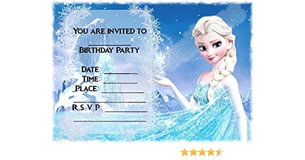 Disney Frozen Birthday Party Invites Elsa Magical Mountain Design Party Supplies Accessories Pack Of 12 A5 Invitations With Envelopes