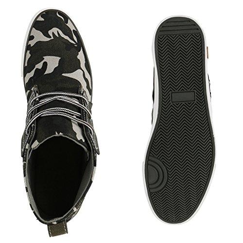 Herren Sneakers High Top Sportschuhe Camouflage Freizeit Schuhe Camouflage Grün