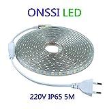 Strisce LED SMD5050 60 LED/M 220v (5M Luce Fredda) 6000k IP65 Impermeabile Con Spina ONSSI LED