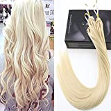 LaaVoo 16Pouces Micro Loop Extensions de Cheveux Natural a Froid Naturel Blond Platine Boucle #60 Easy Loops 50gr Lisse