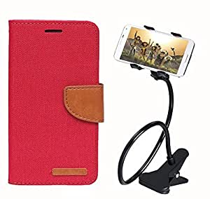 Aart Fancy Wallet Dairy Jeans Flip Case Cover for Apple4G (Red) + 360 Rotating Bed Moblie Phone Holder Universal Car Holder Stand Lazy Bed Desktop by Aart store.