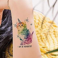 Acuarela Gatos Tatuajes temporales Pegatinas Flash Mujeres Brazo Tatuajes falsos Kid Stars Unicornio Dibujos animados Tatuaje impermeable Cuello