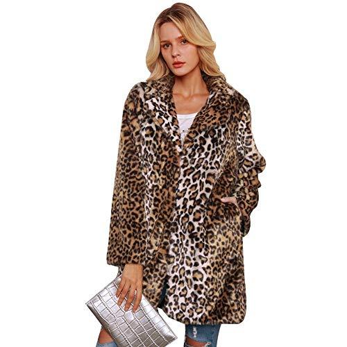 Milky Way Abrigo de Invierno cálido para Mujer, Chaqueta de Piel sintética de Leopardo, Abrigo de Manga Larga para Invierno, cálido y Esponjoso Marrón One Color S
