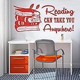 wukongsun Lesen können Sie zu jedem Ort Buch Wandaufkleber Bibliothek Lernen inspirierende Zitate...