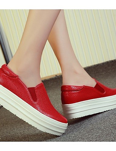 ZQ gyht Scarpe Donna-Mocassini-Formale / Casual-Creepers / Punta arrotondata-Plateau-Finta pelle-Nero / Rosso / Bianco , red-us10.5 / eu42 / uk8.5 / cn43 , red-us10.5 / eu42 / uk8.5 / cn43 black-us5 / eu35 / uk3 / cn34
