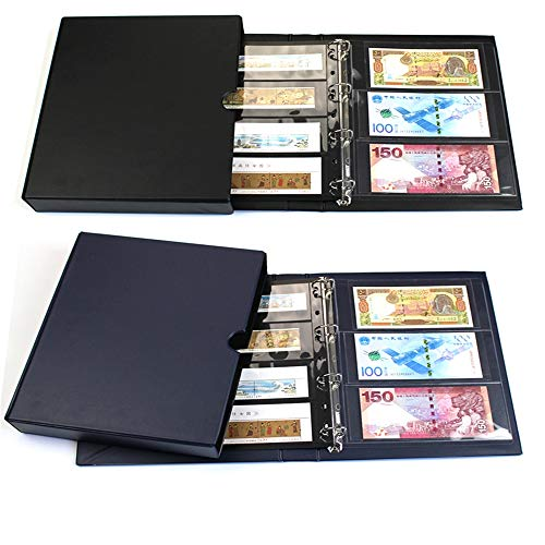 GYJ Taschen Münzhalter Sammlung Aufbewahrungsalbum Buch für Sammler Währungsportfolio und Sammeln von Zubehör Black The World Poster -
