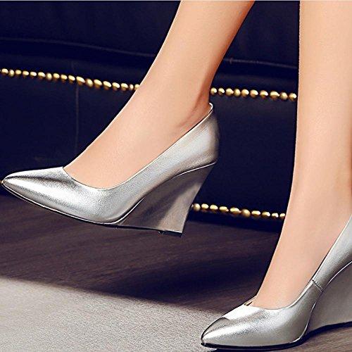 Zeppe Tacchi Alti Spessi Soled Ladies Altezza Casuale Alzando Scarpe Scarpe Da Pioggia Estate Chaussure silver white