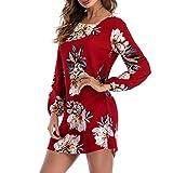 Lenfesh Vestidos de Mujer Talla Grande, Ocasional Vestidos de Floral para Playa Moda Mini Vestido Corto de Verano Manga Larga de Fiesta Cóctel Playa Casual Elegante S-3XL (3XL, Rojo)