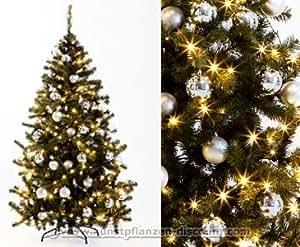 k nstliche weihnachtsb ume mit christbaumkugeln silber farbig h he 210cm mit beleuchtung. Black Bedroom Furniture Sets. Home Design Ideas