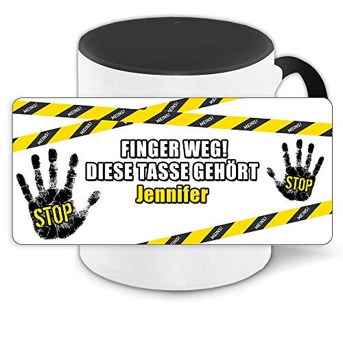 Büro-Tasse mit Namen Jennifer und schönem Motiv - Nr. 3 - Finger weg , diese Tasse gehört ... , Farbe: schwarz 5