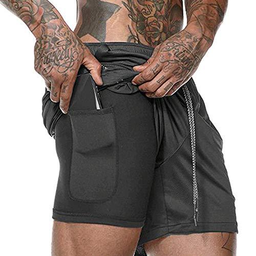 Pantaloncini da Atletica Leggera per Uomo, Pantaloncini Sportivi da Running da Uomo 2 in 1 a Rapida Asciugatura Traspirante con...
