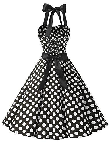 Dressystar Vintage Tupfen Retro Cocktail Abschlussball Kleider 50er 60er Rockabilly Neckholder Schwarz Weiß Dot M - 4