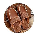 TELLW Inverno mucca lanugine pantofole uomo e donna casa antiscivolo caldo interno in legno pavimento in pelle Pantofole