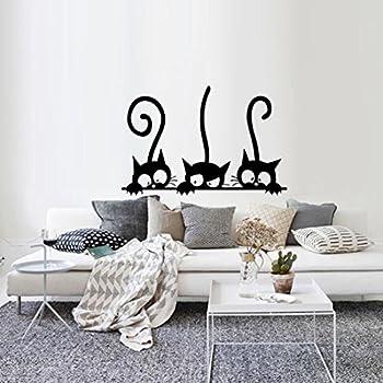 Bestofferbuy Sticker Mural Chats Enjou 233 S Silhouette De