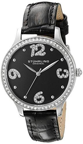 Original de las mujeres Stuhrling elegante reloj de pulsera de cuarzo con esfera analógica y correa de cuero negro 560,02