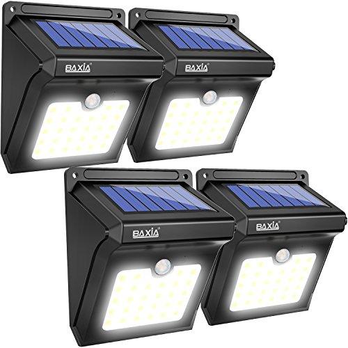 Baxia 28 led lampada solare, lampada wireless di sicurezza alimentata con energia solare con sensore di movimento alimentata ad energia solare per esterni, pareti, giardino, terazzo, cortile(4-pacchi)