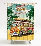 Duschvorhang Summer Bus 180 x 180 cm, hochwertige Qualität, 100% Polyester, wasserdicht, Anti-Schimmel-Effekt, inkl. 12 Duschvorhangringe