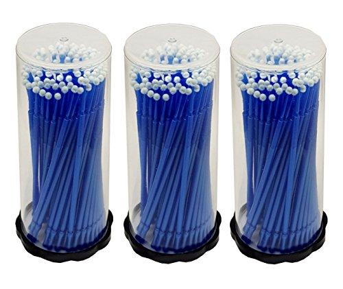 300 pièces Lot de 3 x 100 Tube Applicateur de bâtonnets de nettoyage en microfibre Bleu 2,5 mm pour extensions de cils